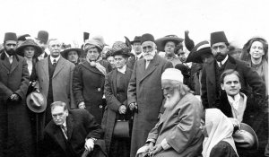 `Abdu'l-Bahá prepares to lay the cornerstone. May 1, 1912